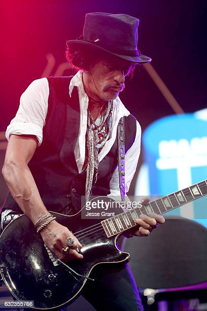 Musician Joe Perry performs onstage at the TEC Awards during NAMM Show 2017 at the Anaheim Hilton on January 21 2017 in Anaheim California
