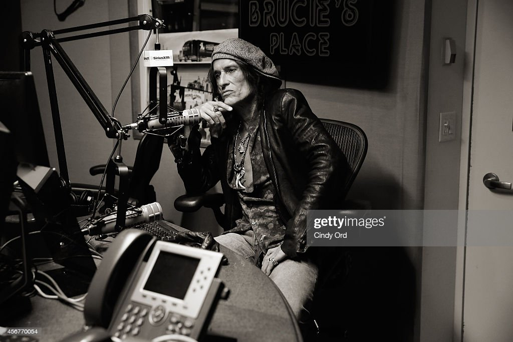 Image has been shot in black and white. Color version not available.) Musician Joe Perry visits the SiriusXM Studios on October 6, 2014 in New York City.