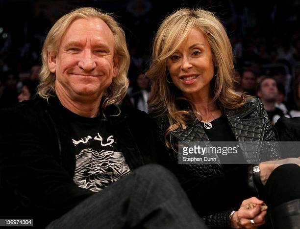 Musician Joe Walsh and wife Marjorie Bach attend the game between the Cleveland Cavaliers and the Los Angeles Lakers at Staples Center on January 13...