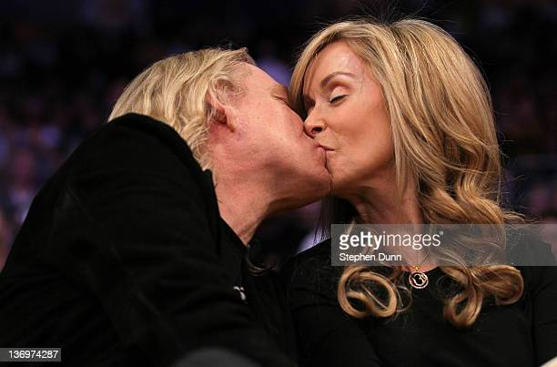 Musician Joe Walsh kisses wife Marjorie Bach duringf the video board Kiss Me segment during the game between the Cleveland Cavaliers and the Los...