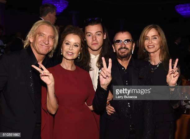 Musician Joe Walsh Marjorie Bach singer Harry Styles musician Ringo Starr and Barbara Bach attend the 2016 PreGRAMMY Gala and Salute to Industry...