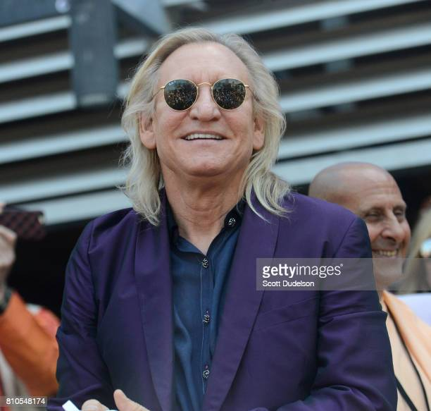 Musician Joe Walsh of The Eagles celebrates Ringo Starr's 77th birthday at the annual 'Peace Love' celebration at Capitol Records Tower on July 7...