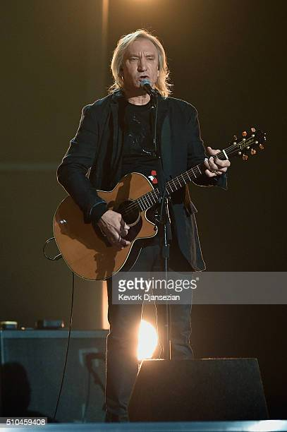 Musician Joe Walsh of the Eagles performs onstage during The 58th GRAMMY Awards at Staples Center on February 15 2016 in Los Angeles California