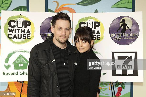 """Musician Joel Madden and Nicole Richie attend the The Richie-Madden Children�s Foundation and 7-Eleven�s """"Coffee Cup with a Cause"""" program to benefit..."""
