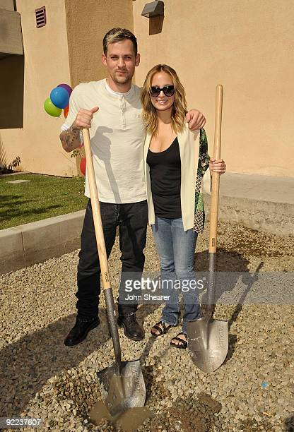 Musician Joel Madden and television personality Nicole Richie attend the groundbreaking ceremony for Beyond Shelter Playground on behalf of The...