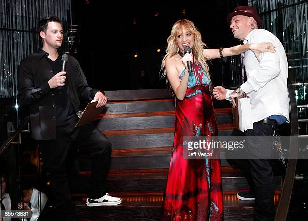 Musician Joel Madden Nicole Richie and musician Benji Madden attend the fundraiser for the US Fund for UNICEF TAP Project hosted by Sony Cierge and...