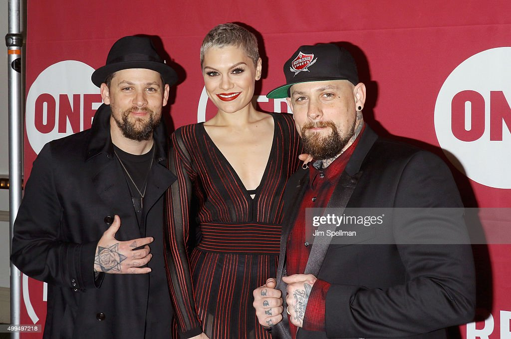 Musician Joel Madden, singer/songwriter Jessie J and musician Benji Madden attend the ONE And (RED)'s 'It Always Seems Impossible Until It Is Done' at Carnegie Hall on December 1, 2015 in New York City.
