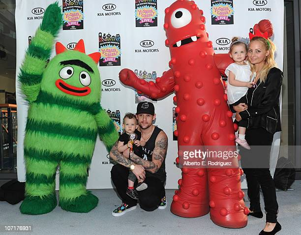 Musician Joel Madden, son Sparrow Madden, daughter Harlow Madden and wife Nicole Richie attend Yo Gabba Gabba! Live! There's A Party In My City at...