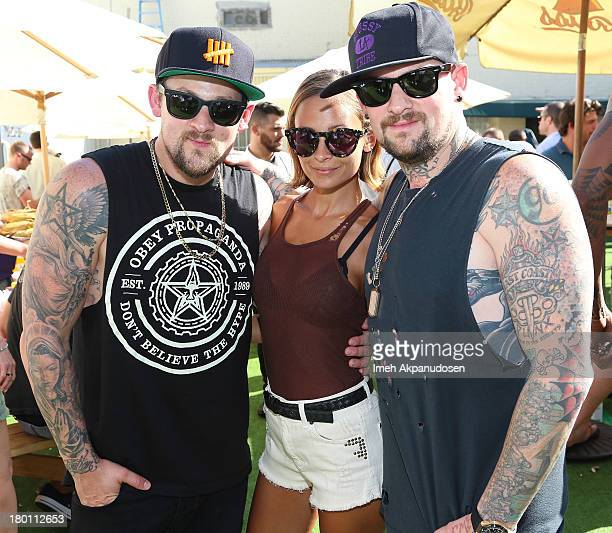 Musician Joel Madden television personality Nicole Richie and musician Benji Madden attend Crab Cake 2013 at The Pikey on September 8 2013 in Los...