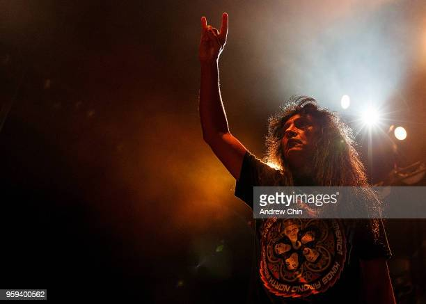 Musician Joey Belladonna of Anthrax performs on stage during a concert opening for Slayer's final world tour at Pacific Coliseum on May 16 2018 in...