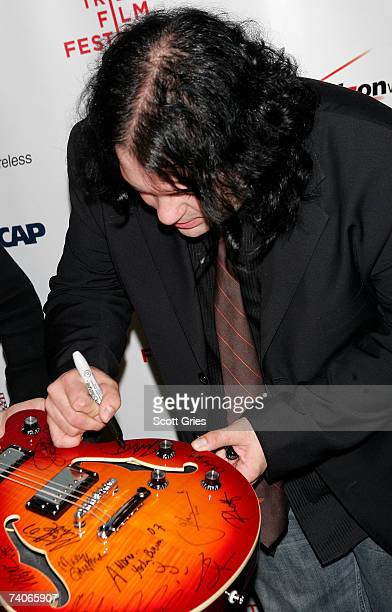 Musician John Auer autographs a guitar at the ASCAP Tribeca Music Lounge held at the Canal Room during the 2007 Tribeca Film Festival on May 3 2007...