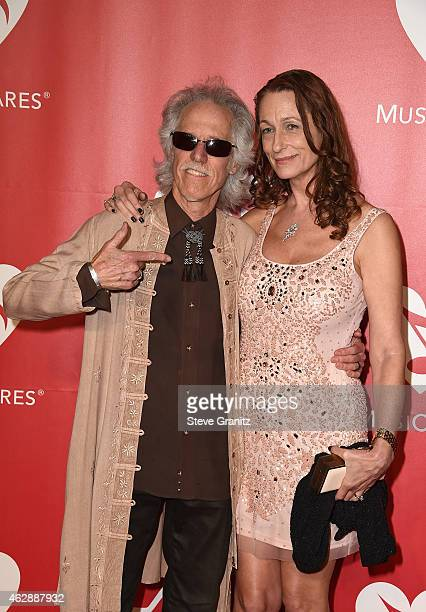 Musician John Densmore of the Doors and Ildiko Von Somogyi attend the 25th anniversary MusiCares 2015 Person Of The Year Gala honoring Bob Dylan at...