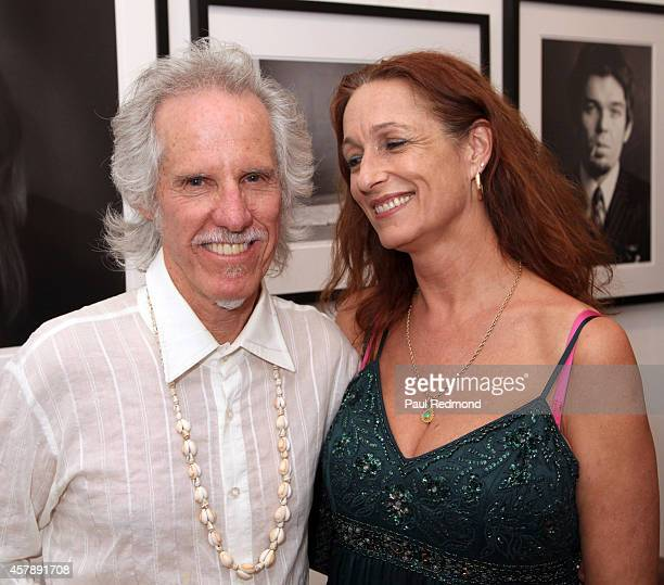 Musician John Densmore of The Doors and Ildiko Von Somogyi Big Shots Rock Legends Hollywood Icons Guy Webster book release photo exhibit reception on...
