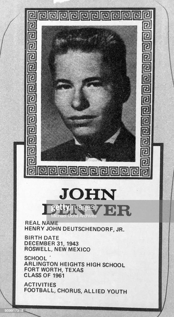 Musician John Denver, born Henry John Deutschendorf Jr., poses for his high school yearbook photo which reads 'Birth Date: December 31, 1943, Roswell, New Mexico, School: Arlington Heights High School, Fort Worth, Texas, Class of 1961, Activities: Football, Chorus, Allied Youth' in 1961 in Arlington, Texas.