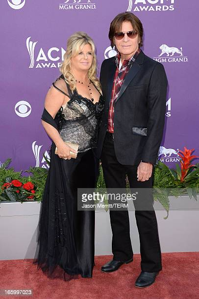Musician John Fogerty and Julie Lebiedzinski arrive at the 48th Annual Academy of Country Music Awards at the MGM Grand Garden Arena on April 7 2013...