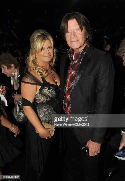 Musician John Fogerty and Julie Lebiedzinski attend the 48th Annual Academy of Country Music Awards at the MGM Grand Garden Arena on April 7 2013 in...