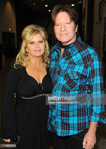 Musician John Fogerty and Julie Lebiedzinski backstage during ACM Presents Girls' Night Out Superstar Women of Country concert held at the MGM Grand...