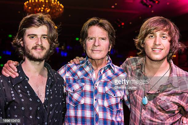 Musician John Fogerty poses with sons Tyler Fogerty and Shane Fogerty at his special one night only album release and birthday bash show at El Rey...