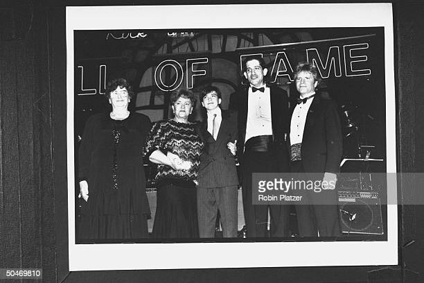 Musician John Fogerty posing w family of late rock promoter Bill Graham incl his 1st wife Bonnie Bill's sister Esther Chichinsky his sons David Alex...
