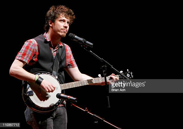 Musician John Gallagher Jr performs during the 2008 Broadway Stands Up for Freedom at the Skirball Center on July 21 2008 in New York City