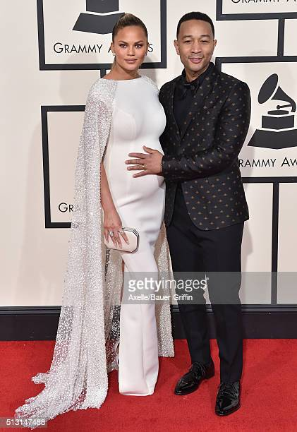 Musician John Legend and model Chrissy Teigen arrive at The 58th GRAMMY Awards at Staples Center on February 15 2016 in Los Angeles California