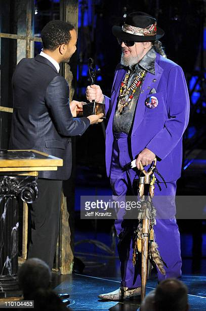 Musician John Legend inducts Dr John onstage at the 26th annual Rock and Roll Hall of Fame Induction Ceremony at The Waldorf=Astoria on March 14 2011...