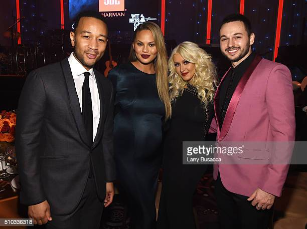 Musician John Legend model Chrissy Teigen singer Christina Aguilera and musician Matthew Rutler attend the 2016 PreGRAMMY Gala and Salute to Industry...