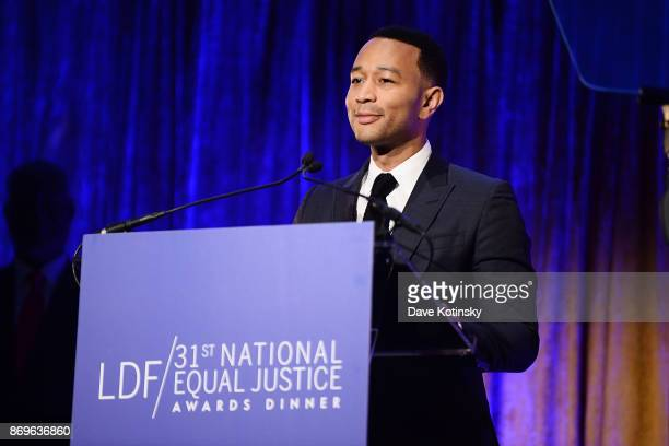 Musician John Legend on stage during the the LDF 31th National Equal Justice Awards Dinner at Cipriani 42nd Street on November 2 2017 in New York City