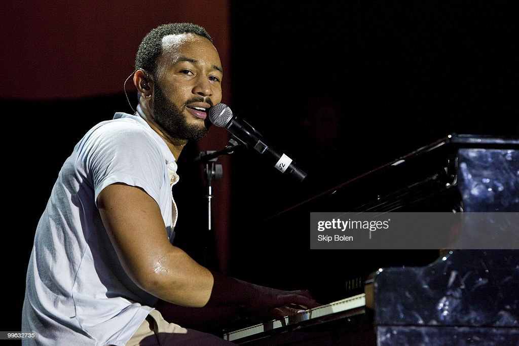 Musician John Legend performs at the GULF AID benefit concert at Mardi Gras World River City on May 16, 2010 in New Orleans, Louisiana.