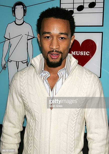 Musician John Legend poses for a photo backstage during 'Movie Week' on MTV's Total Request Live at the MTV Times Square Studios on December 8 2005...