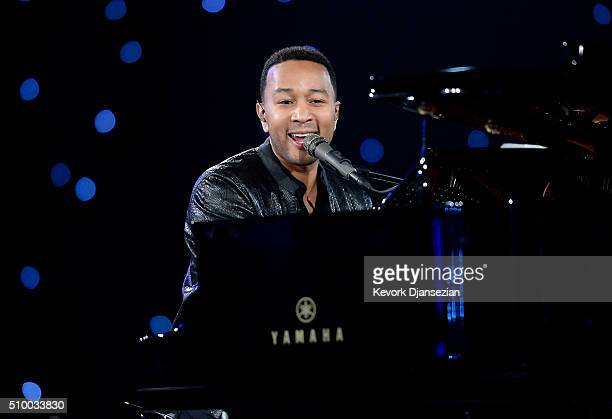 Musician John Legend rehearses onstage during the 2016 MusiCares Person Of The Year honoring Lionel Richie at Los Angeles Convention Center on...