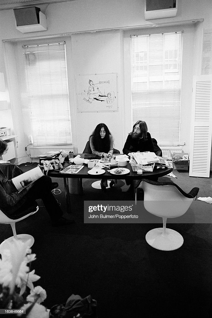 Musician John Lennon (1940 - 1980) and his wife, artist Yoko Ono at the Apple offices in London, 1969.