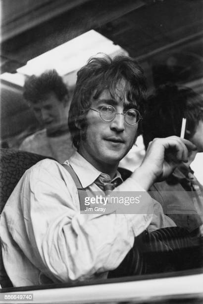 Musician John Lennon of English rock band the Beatles during the filming of 'Magical Mystery Tour' in Devon UK 1967
