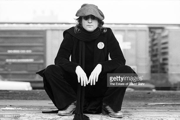 Musician John Lennon poses for a portrait on October 25 1974 in New York City New York