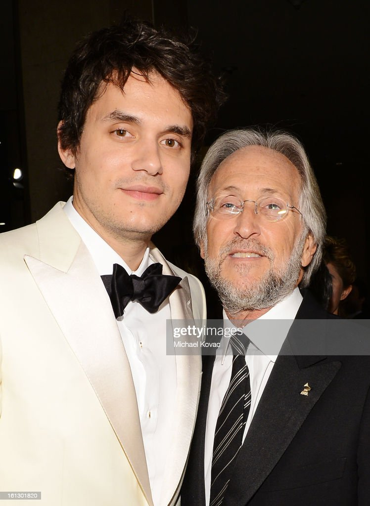 Musician John Mayer (L) and NARAS President Neil Portnow arrive at the 55th Annual GRAMMY Awards Pre-GRAMMY Gala and Salute to Industry Icons honoring L.A. Reid held at The Beverly Hilton on February 9, 2013 in Los Angeles, California.
