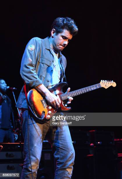 Musician John Mayer performs on stage during 'The Search for Everything' world tour at Northwell Health at Jones Beach Theater on August 23 2017 in...