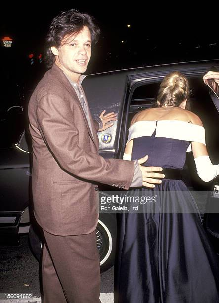 Musician John Mellencamp and guest attend the the Wedding Reception of Allen Grubman and Deborah Haimoff on October 12, 1991 at New York Public...