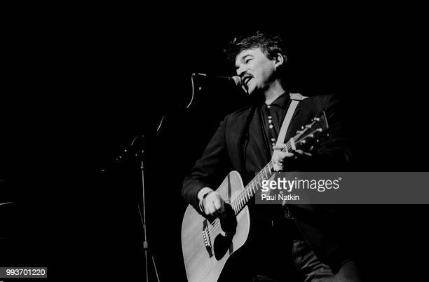 Musician John Prine performs on stage at the Aire Crown Theater in Chicago Illinois January 26 1985