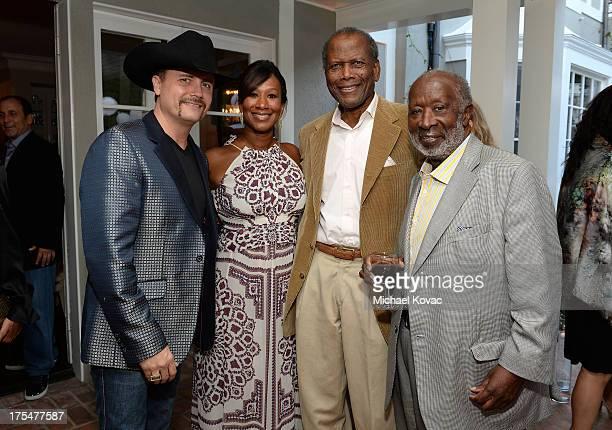 Musician John Rich host Nicole Avant Sarandos actor Sidney Poitier and music executive Clarence Avant attend the 87th birthday celebration of Tony...