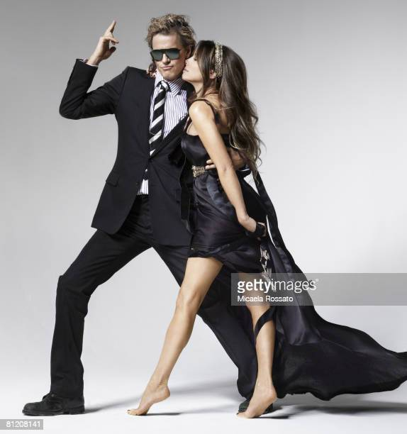 Musician John Taylor and his wife Gela Nash pose at a portrait session in Los Angeles PUBLISHED IMAGE