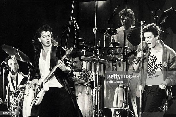 Musician John Taylor and Simon Le Bon of Duran Duran performing at Live Aid '85 Concert on July 13 1985 at JFK Stadium in Philadelphia Pennsylvania