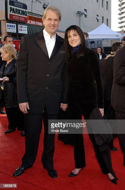 Musician John Tesh and actress Connie Sellecca attend the ABC Television Network's 50th Anniversary Special at the Pantages Theatre on March 16 2003...