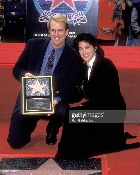 Musician John Tesh and Actress Connie Sellecca attend the Hollywood Walk of Fame Star Ceremony Honoring John Tesh on November 11, 1993 at 7021...