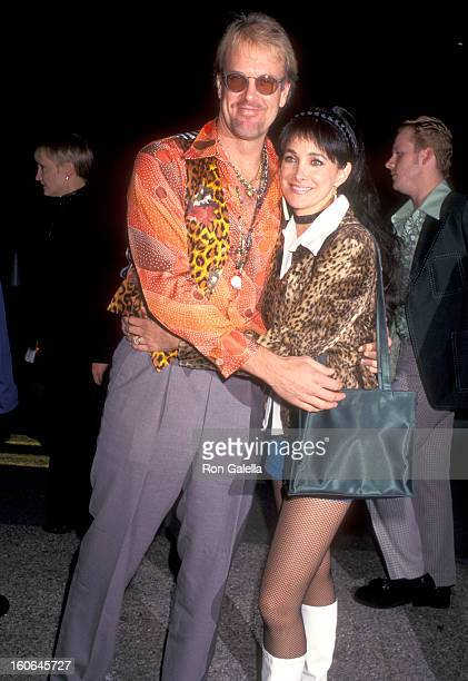 Musician John Tesh and Actress Connie Sellecca attend the Neil Bogart Memorial Fund Gala Honoring Davd Foster on November 12 1997 at The Barker...