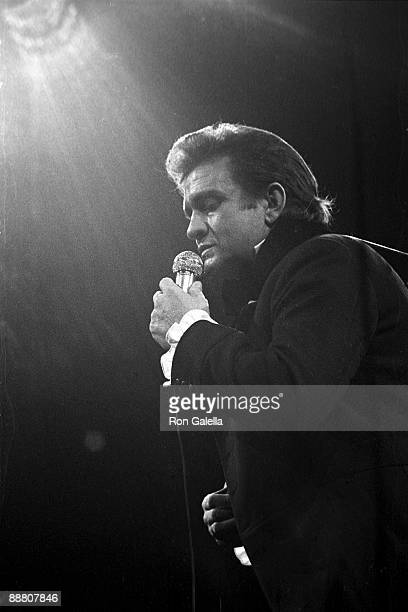 Musician Johnny Cash performs in concert on December 4, 1970 at Madison Square Garden in New York City.