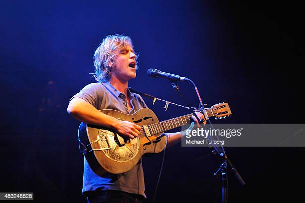 Musician Johnny Flynn performs at Palace Theatre on August 6 2015 in Los Angeles California