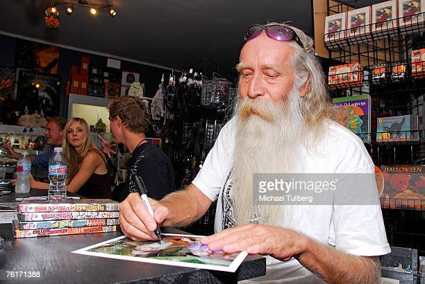 Musician Johnny Legend signs an autograph at an autograph party for the new graphic novel 2001 Maniacs held at the Dark Delicacies bookstore on...