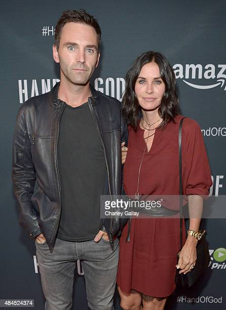 Musician Johnny McDaid and actress Courteney Cox attend the Amazon premiere screening for original drama series 'Hand Of God' at The Theatre at Ace...