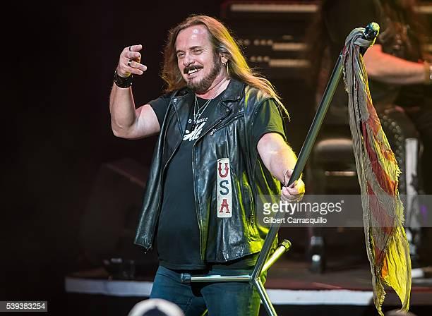 Musician Johnny Van Zant of Lynyrd Skynyrd performs during Lynyrd Skynyrd Peter Frampton In Concert at Mann Center For Performing Arts on June 10...