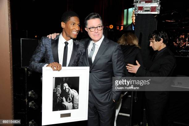 Musician Jon Batiste and comedian Stephen Colbert attend the Gordon Parks Foundation Awards Dinner Auction at Cipriani 42nd Street on June 6 2017 in...